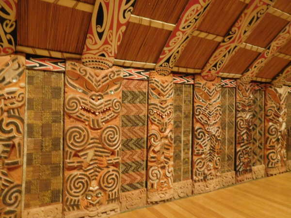 Native hut in the museum with tribal walls.