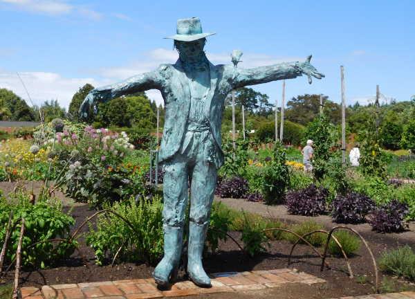 Bronze scarecrow in Hamilton Productive gardens